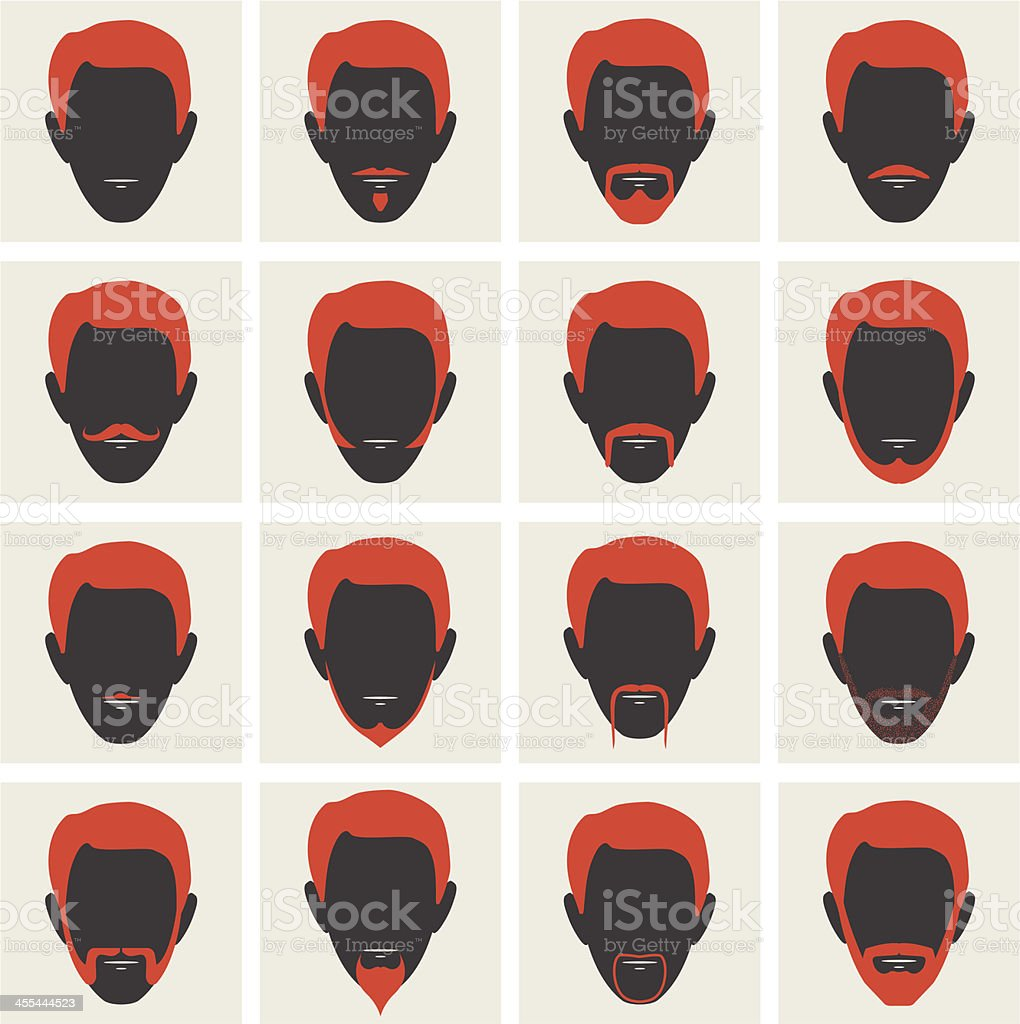 Male Facial Hair Avatars vector art illustration