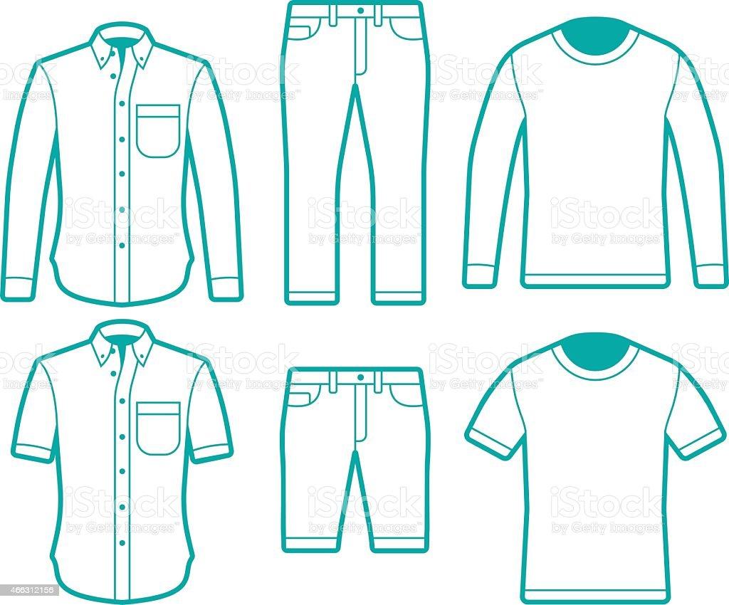 Male Fashion Dress Shirts, T-Shirts and Pants Symbols vector art illustration