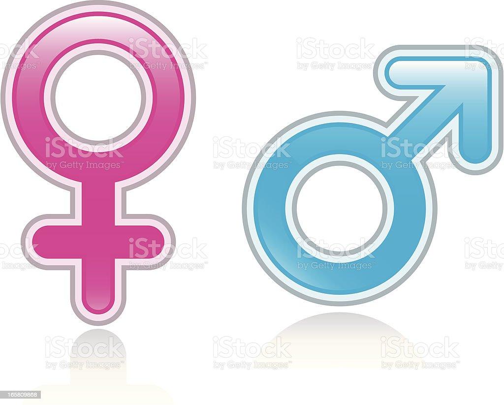 Male female glossy symbols vector art illustration