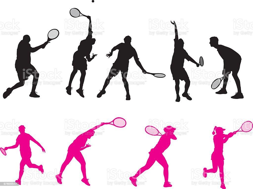 Male & Female Tennis players vector art illustration