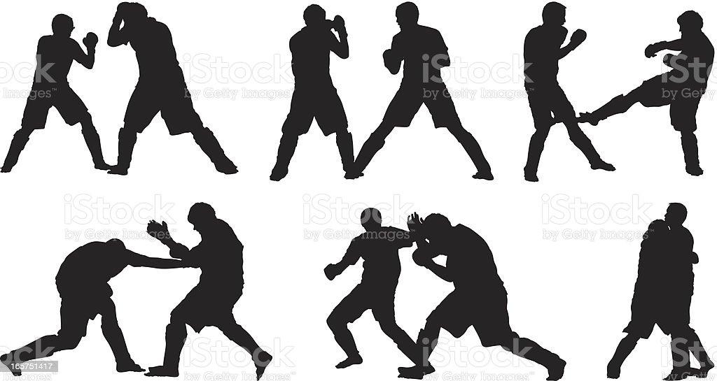 Male fighters kickboxing vector art illustration