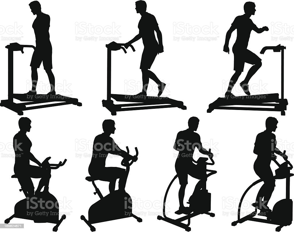 Male Fitness Silhouette Collection vector art illustration