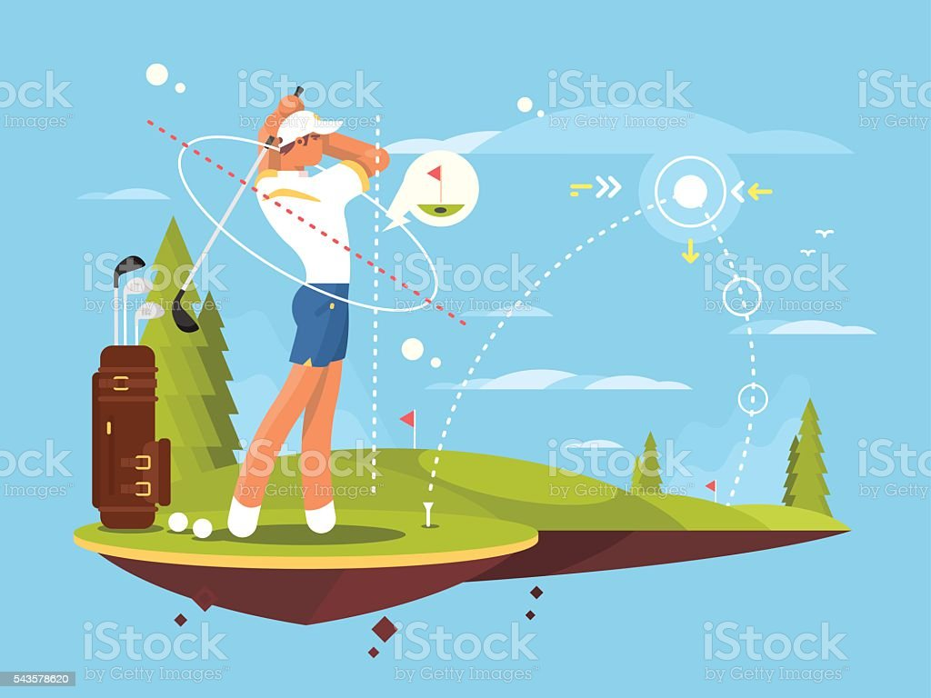 Male golfer playing golf vector art illustration