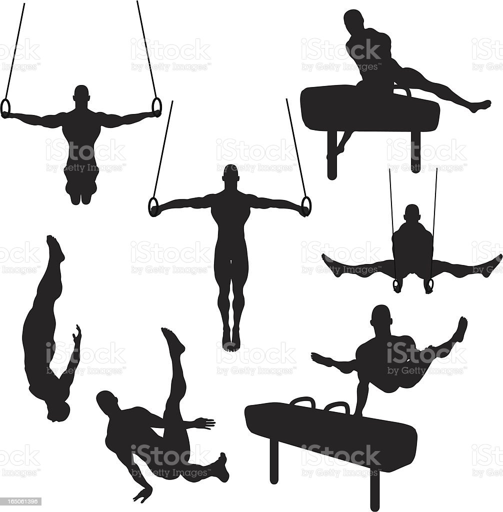 Male Gymnastics Silhouette Collection (vector+raster) vector art illustration