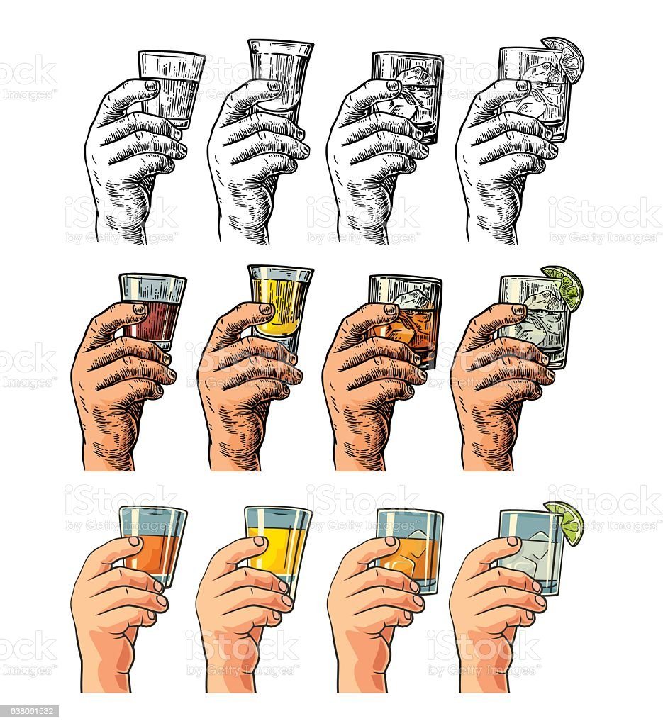 Male hand holding a glasses with tequila, rum, whiskey vector art illustration