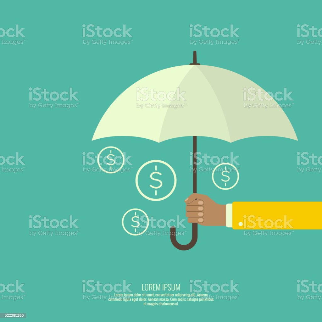 Male hand holding an umbrella. vector art illustration