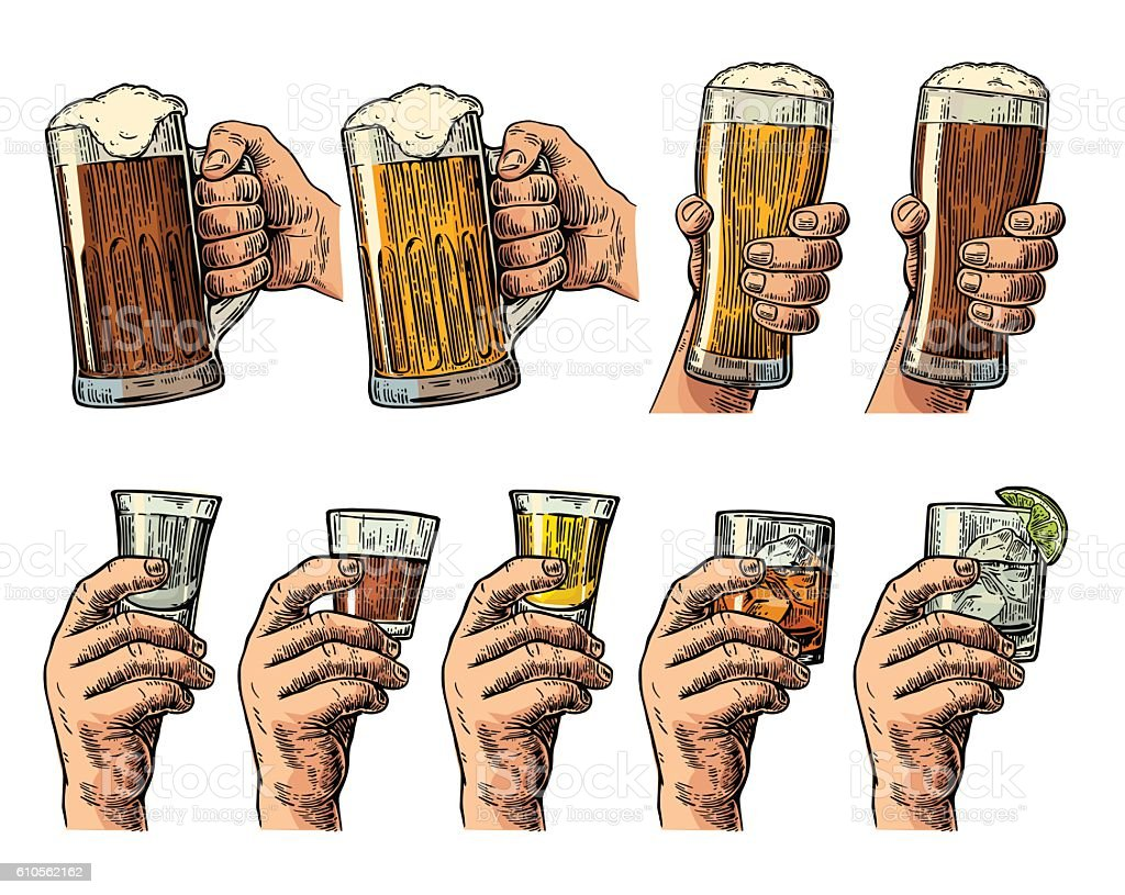 Male hand holding glass with beer, tequila, vodka, rum, whiskey vector art illustration