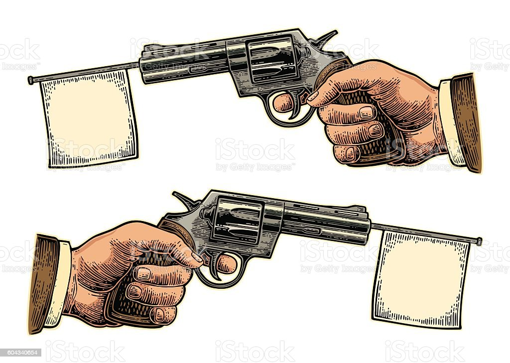 Male hand holding revolver with flag for text. Vector engraving vector art illustration