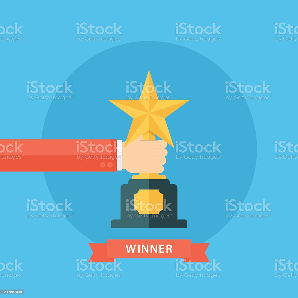 Male hand holding star award. Winner trophy award. vector art illustration