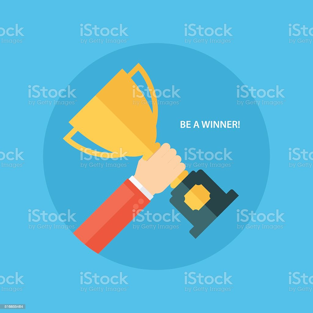 Male hand holding winner's cup. Winner trophy award. vector art illustration