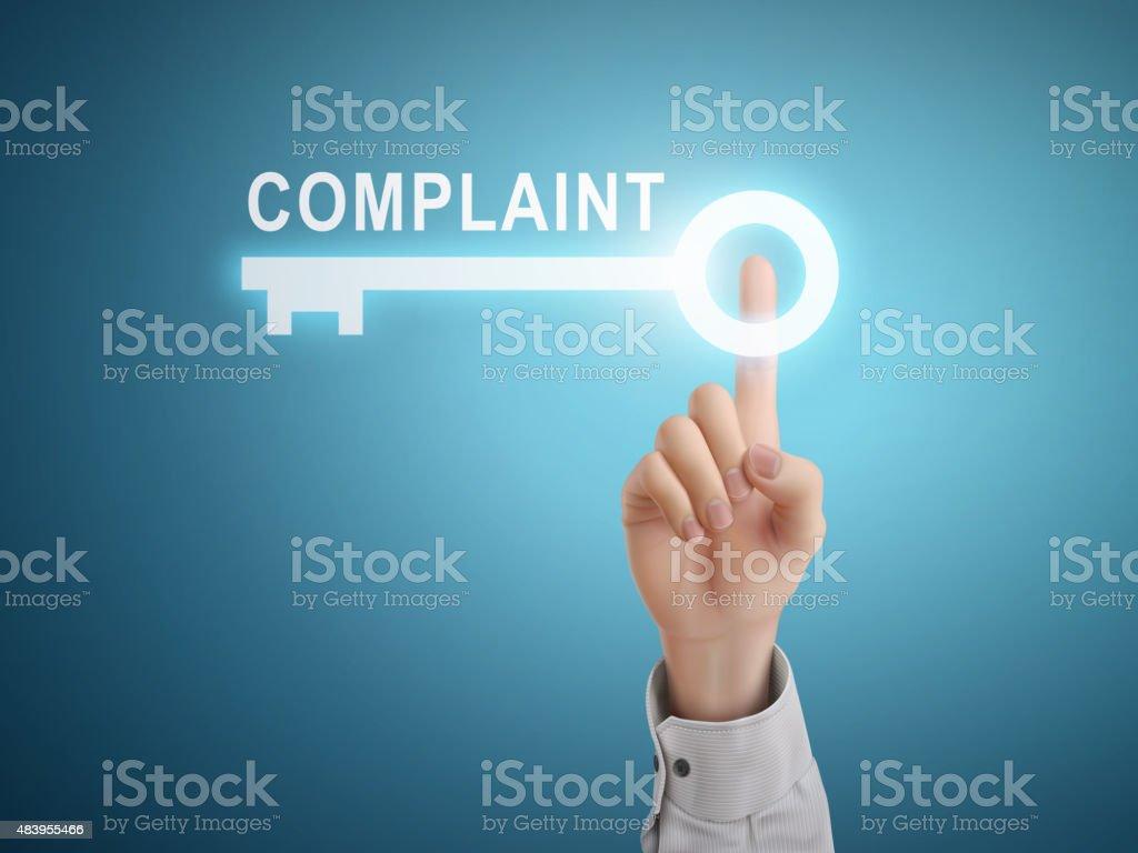 male hand pressing complaint key button vector art illustration
