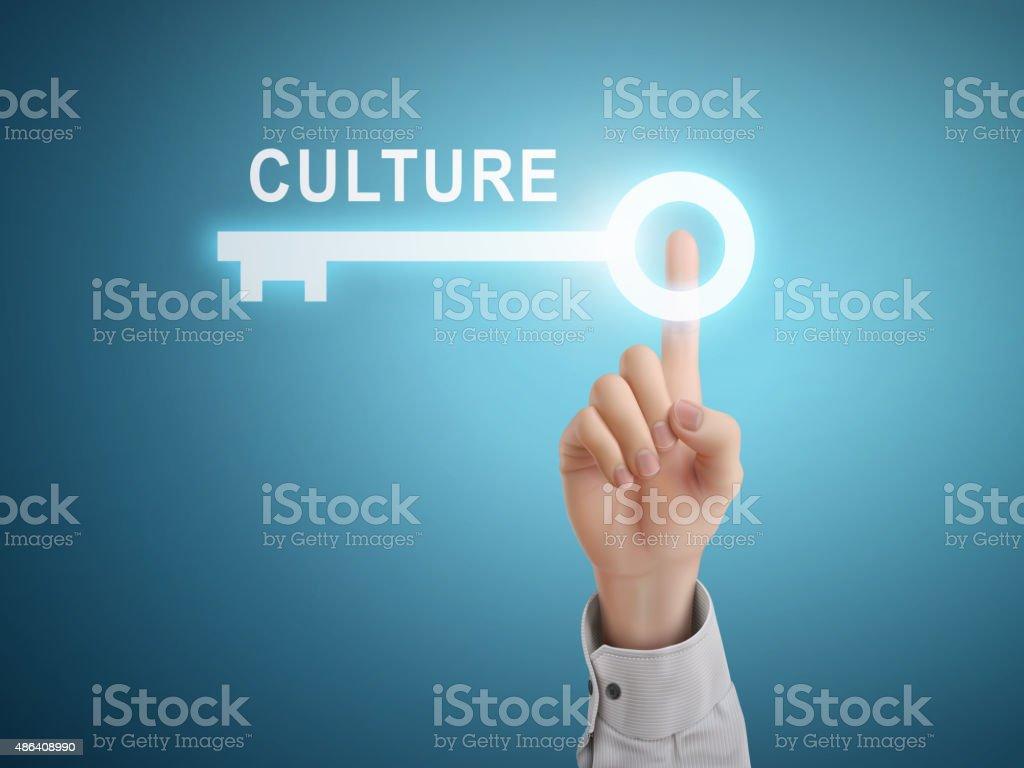 male hand pressing culture key button vector art illustration