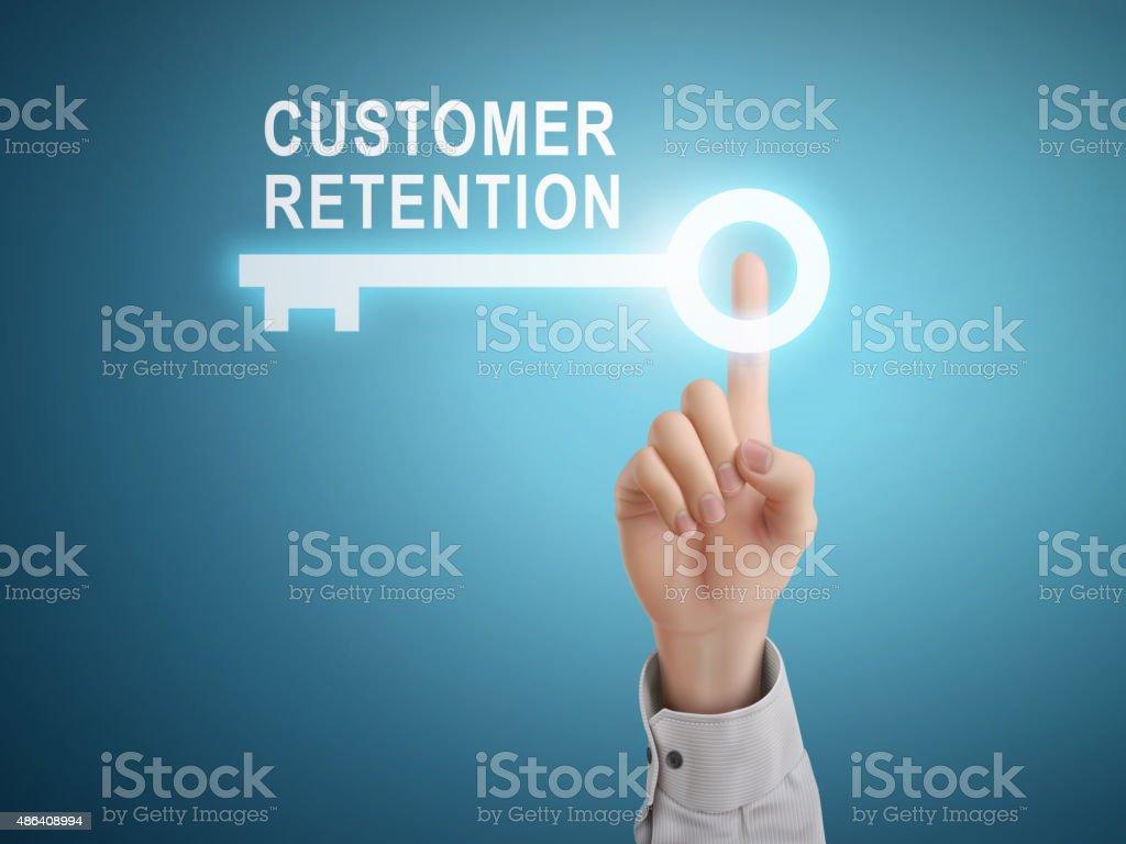 male hand pressing customer retention key button vector art illustration