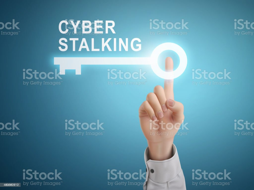 male hand pressing cyber stalking key button vector art illustration