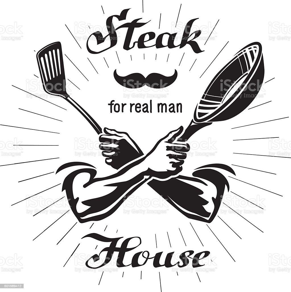 Male hands are holding the utensil vector art illustration