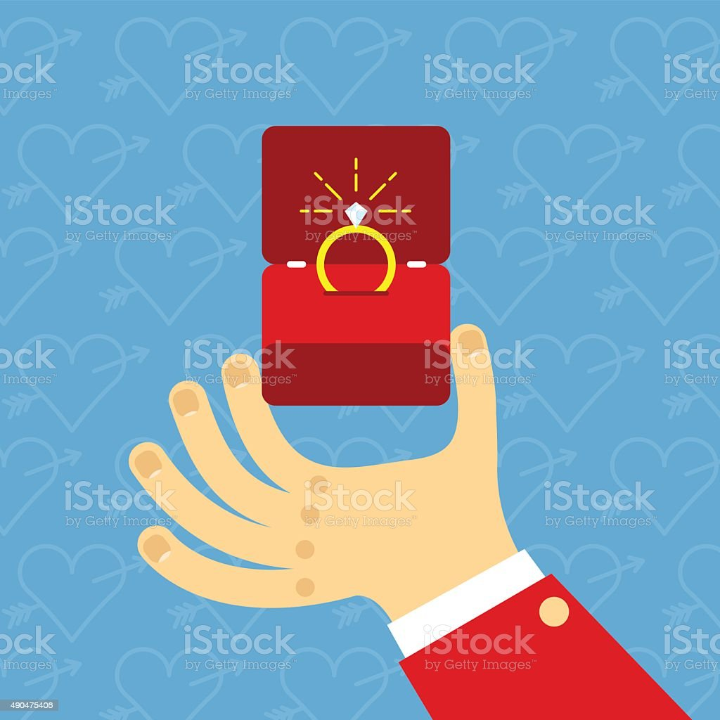 Male hands holding engagement ring in flat style. For valentine vector art illustration