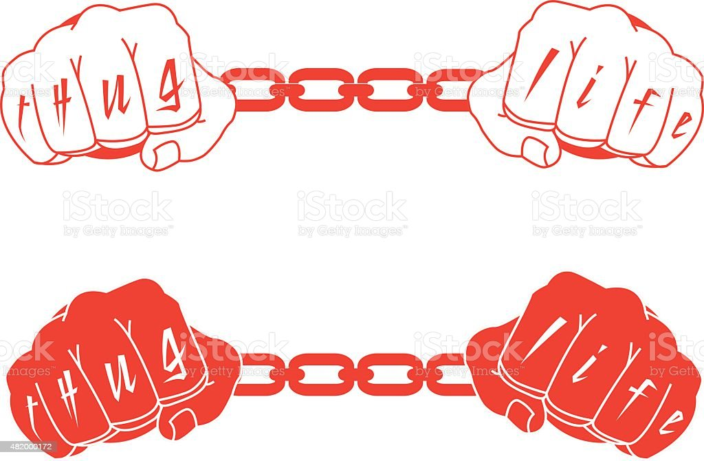Male hands in handcuffs with Thug Life tattoo. Black, white vector art illustration