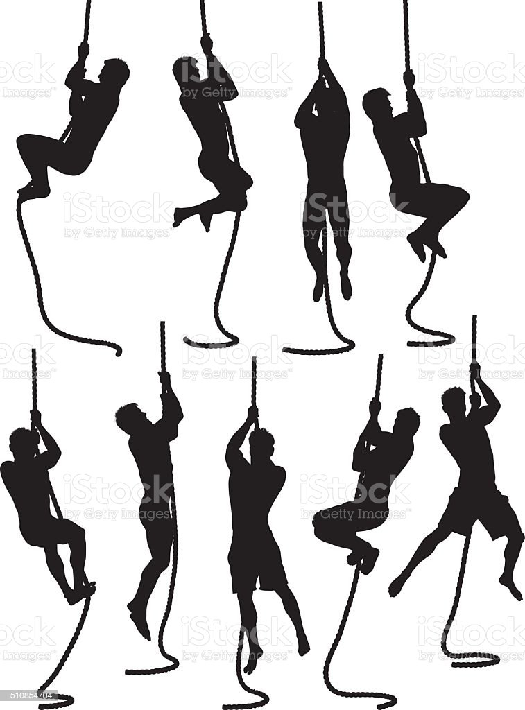 Male hanging with rope vector art illustration