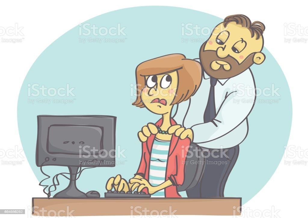 Male harassing female at work vector art illustration