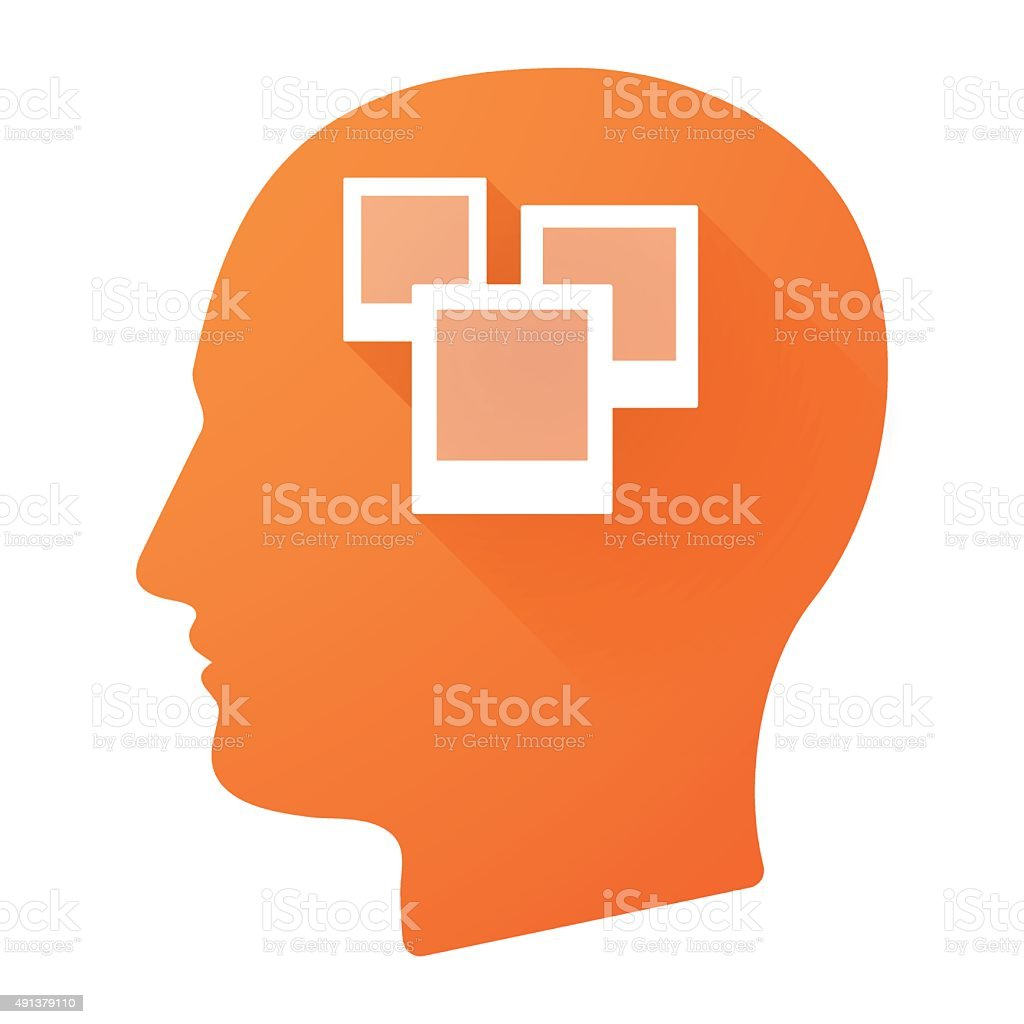 Male head icon with a bunch of photos vector art illustration