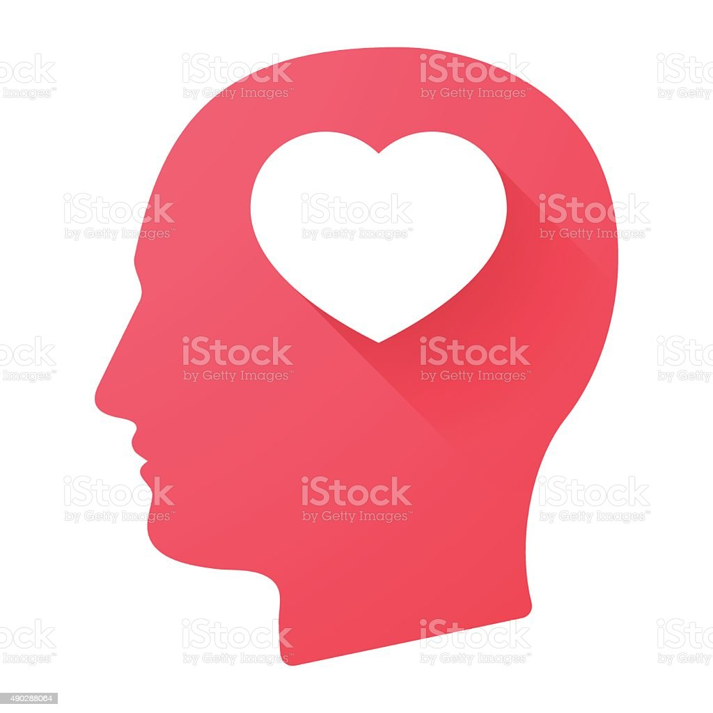 Male head icon with a heart vector art illustration