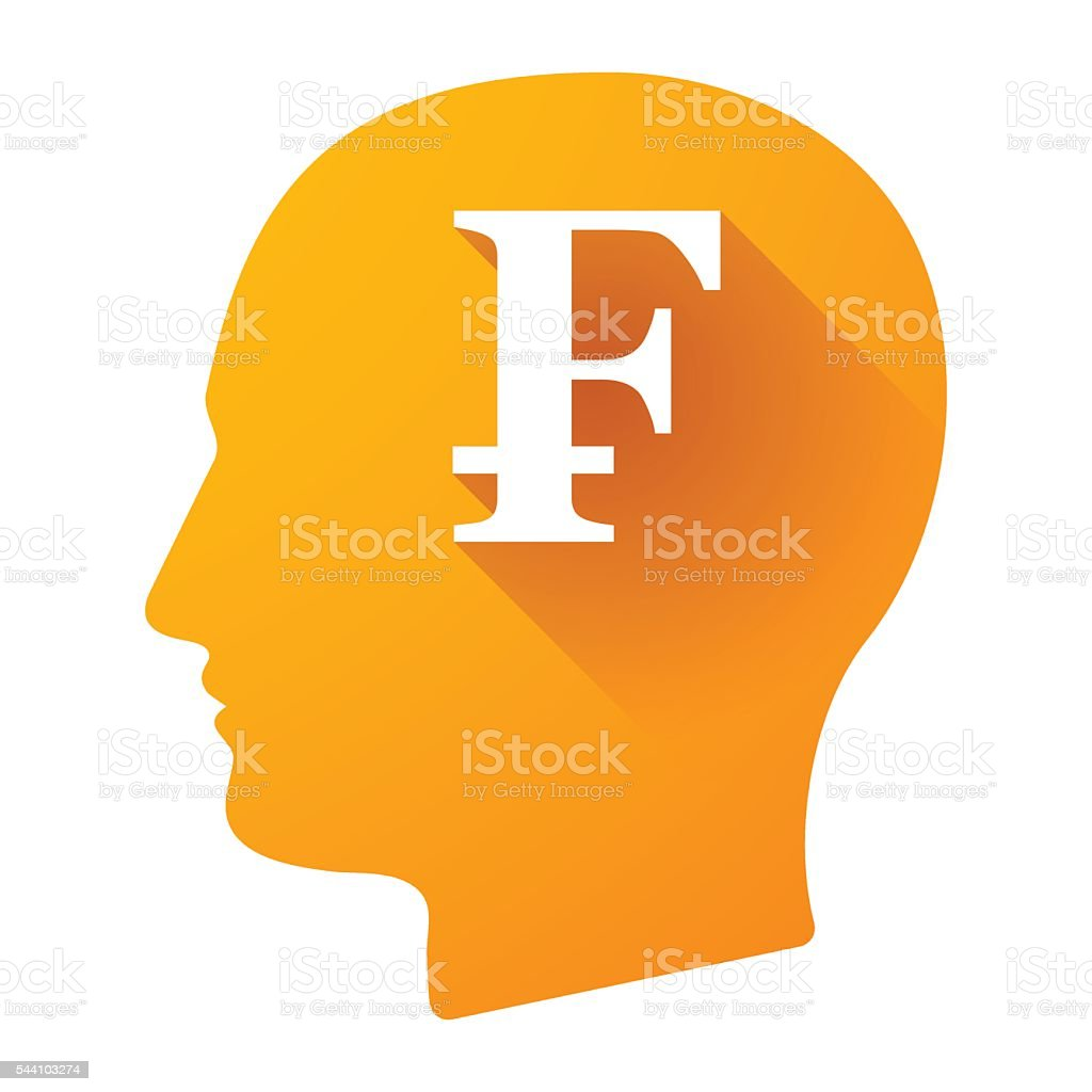 Male head icon with a swiss frank sign vector art illustration