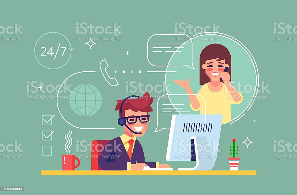 Male helpline operator consulting a client. Vector vector art illustration