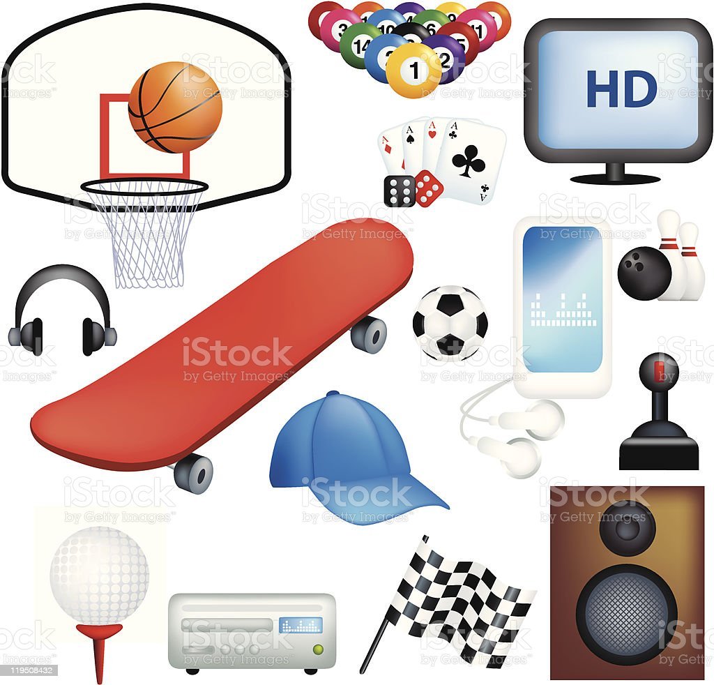 Male hobbies and pastimes royalty-free stock vector art