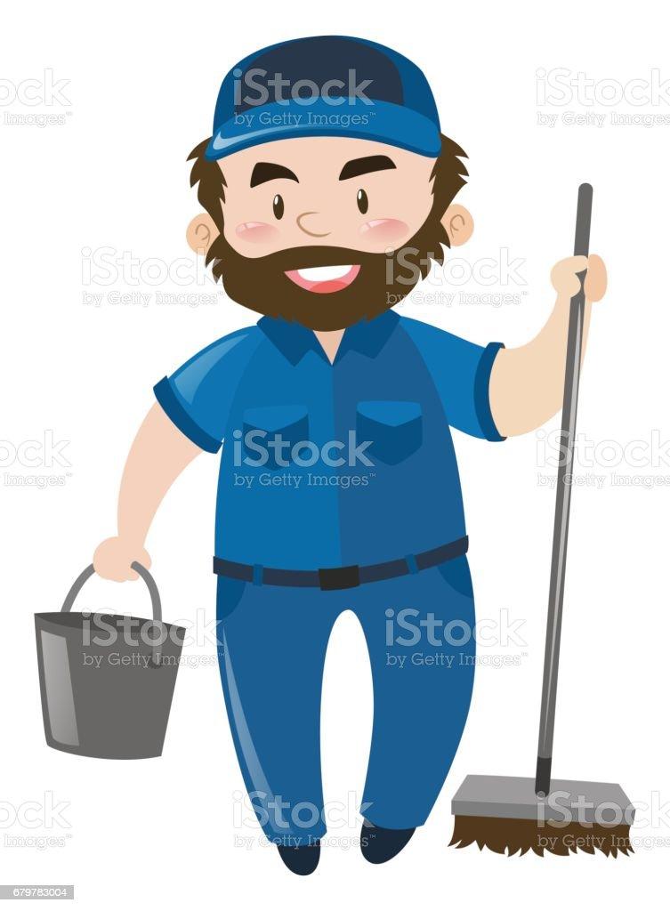 Male janitor in blue uniform vector art illustration