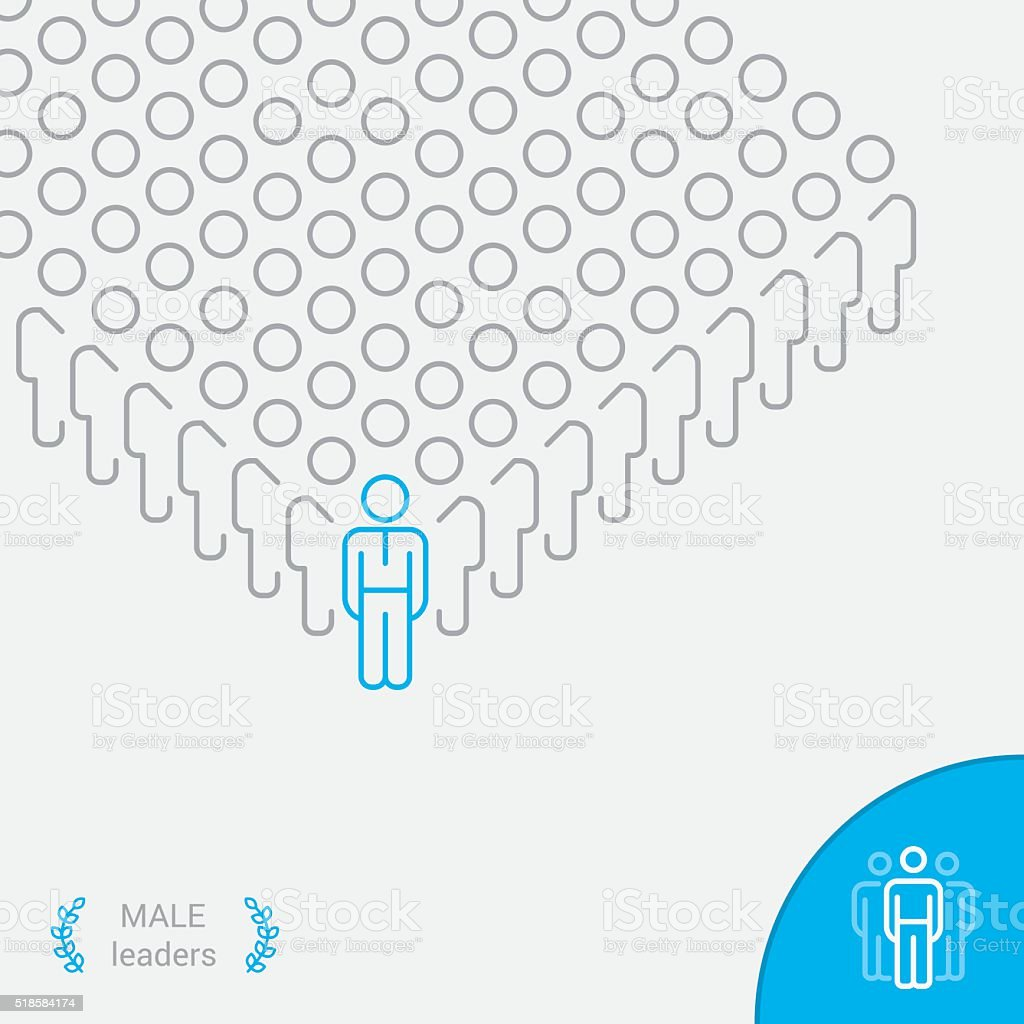 Male Leaders - Infographic vector line icon vector art illustration