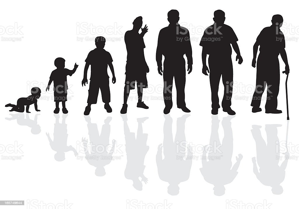 Male Life Cycle Silhouette vector art illustration