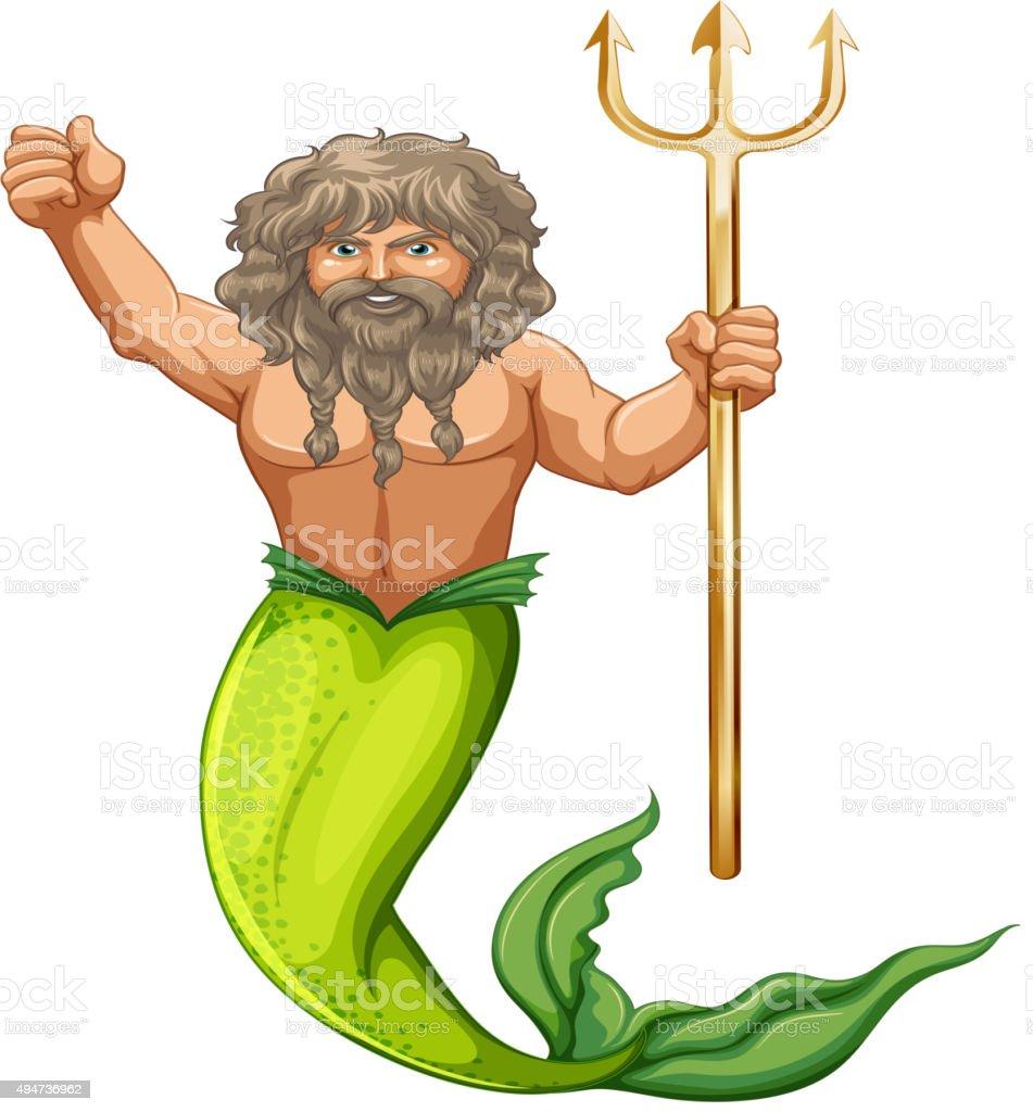 Male mermaid holding trident vector art illustration