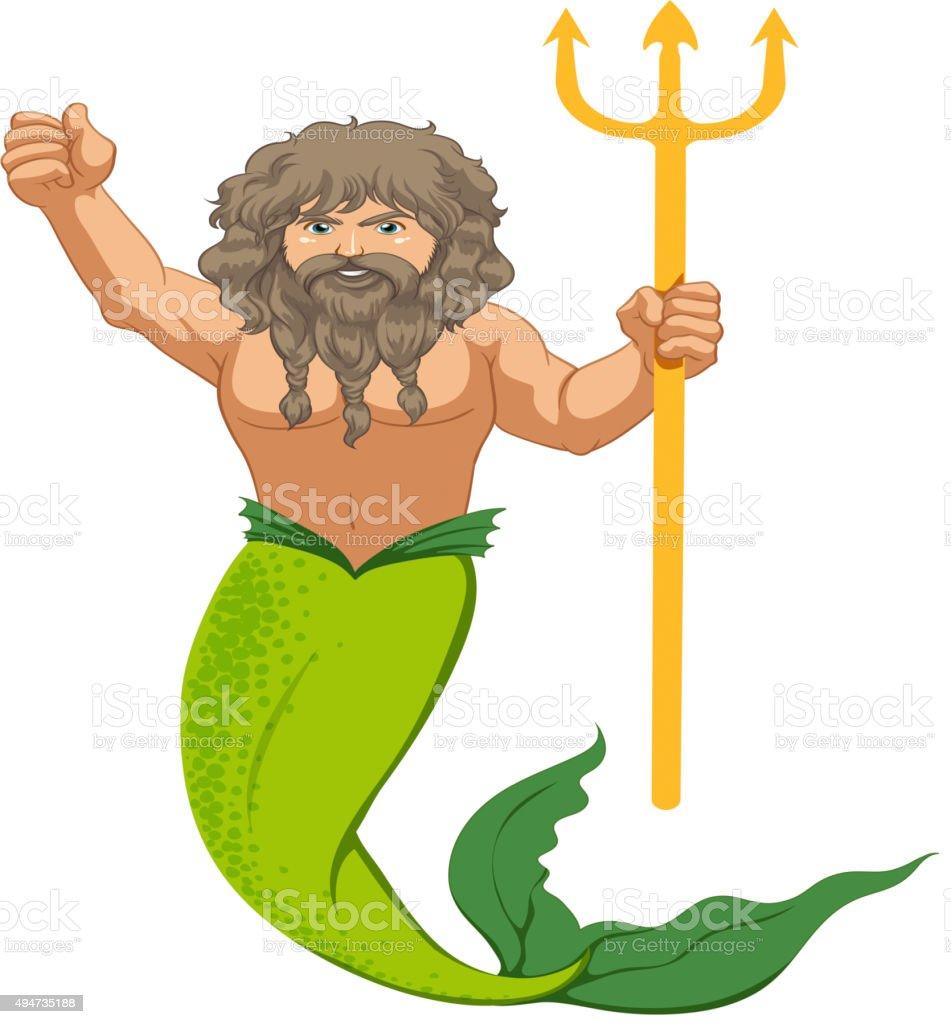 Male mermaid  trident vector art illustration