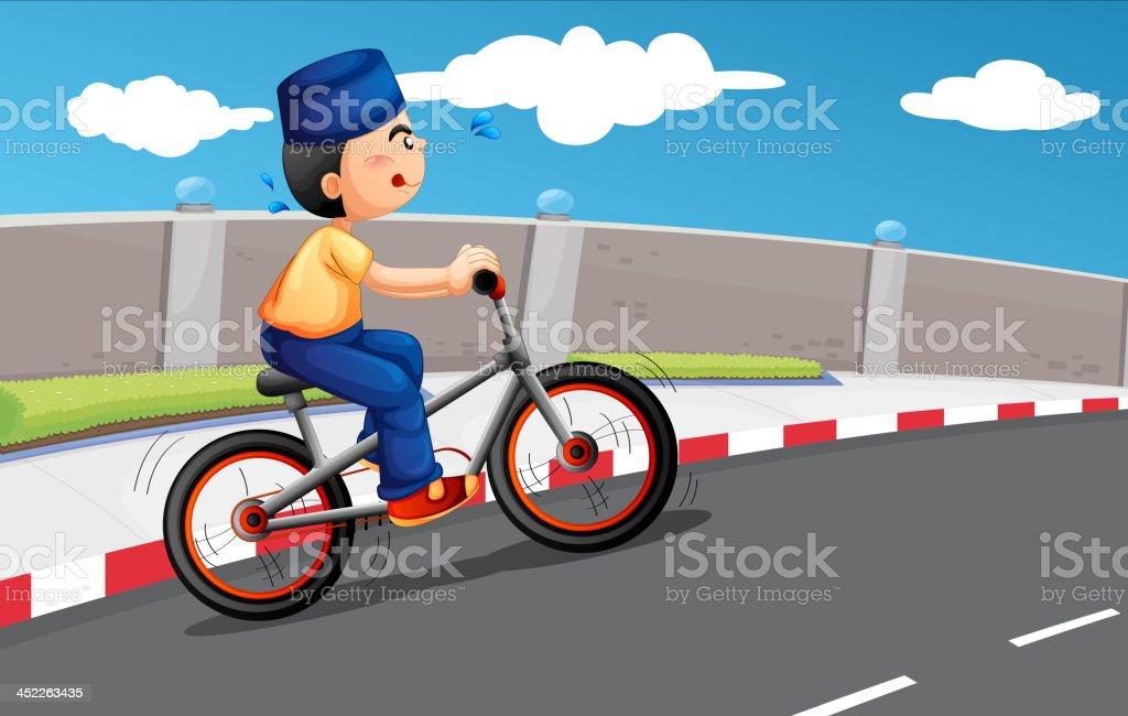 male Muslim biking royalty-free stock vector art