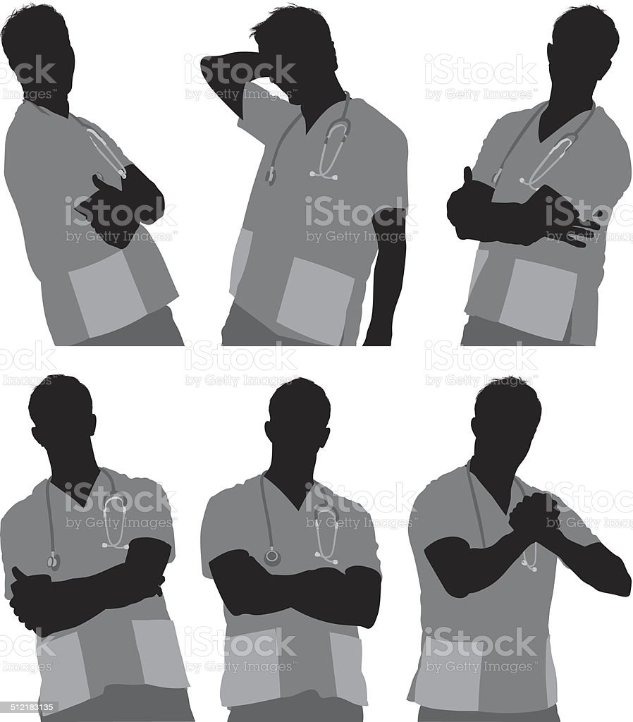 Male nurse in various poses vector art illustration