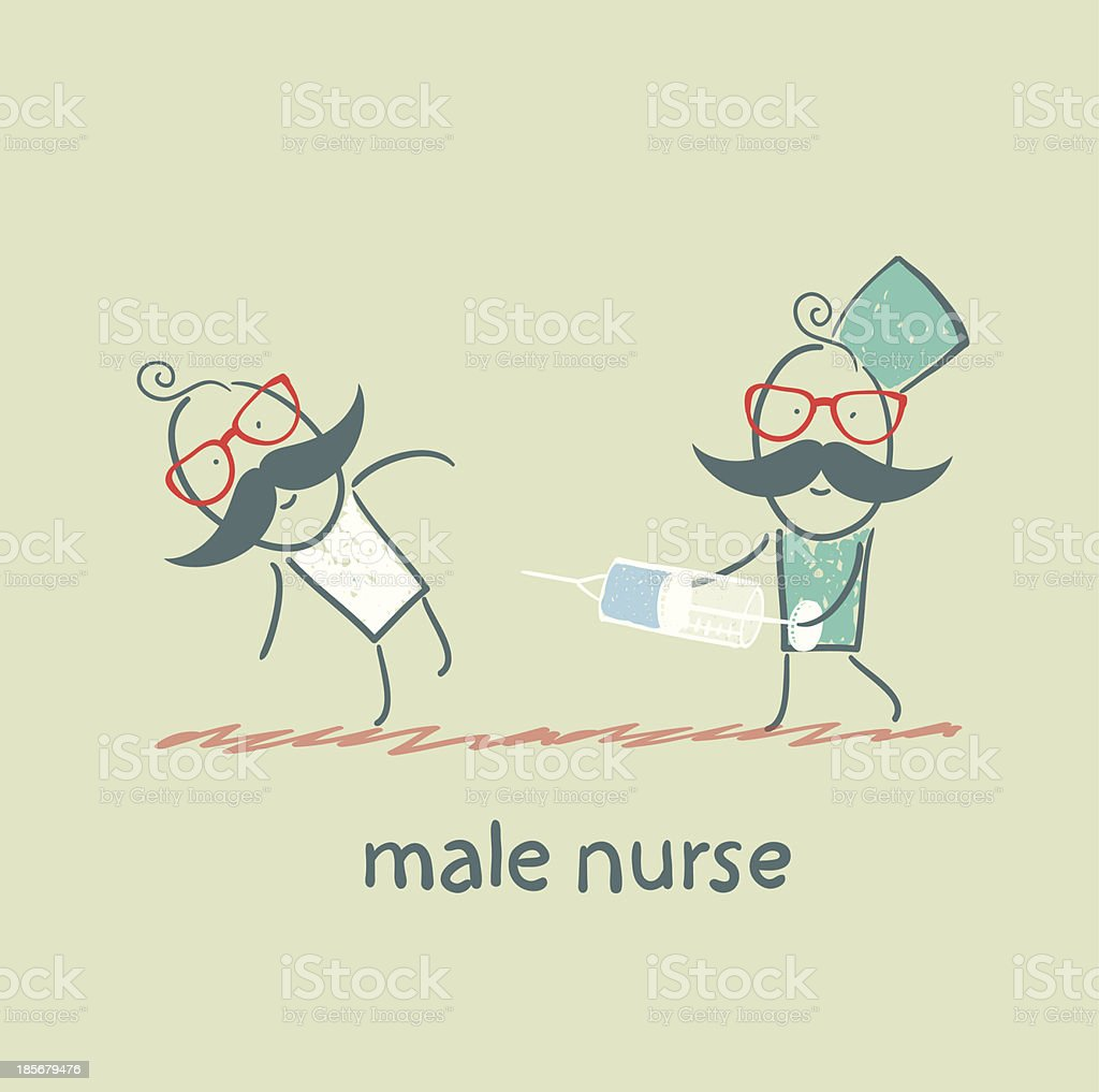 male nurse  make an injection syringe ill patient royalty-free stock vector art