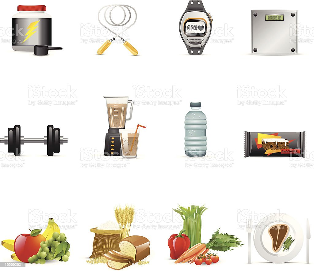 Male Nutrition & Fitness Icons vector art illustration