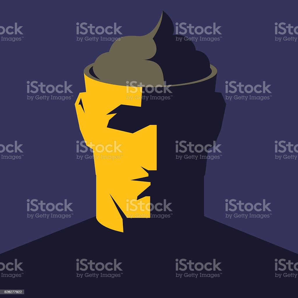 Male open head with big poop inside. vector art illustration