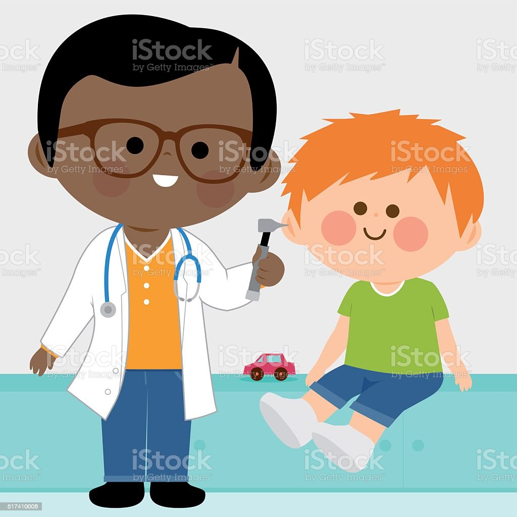 Male pediatrician examining a little boy vector art illustration