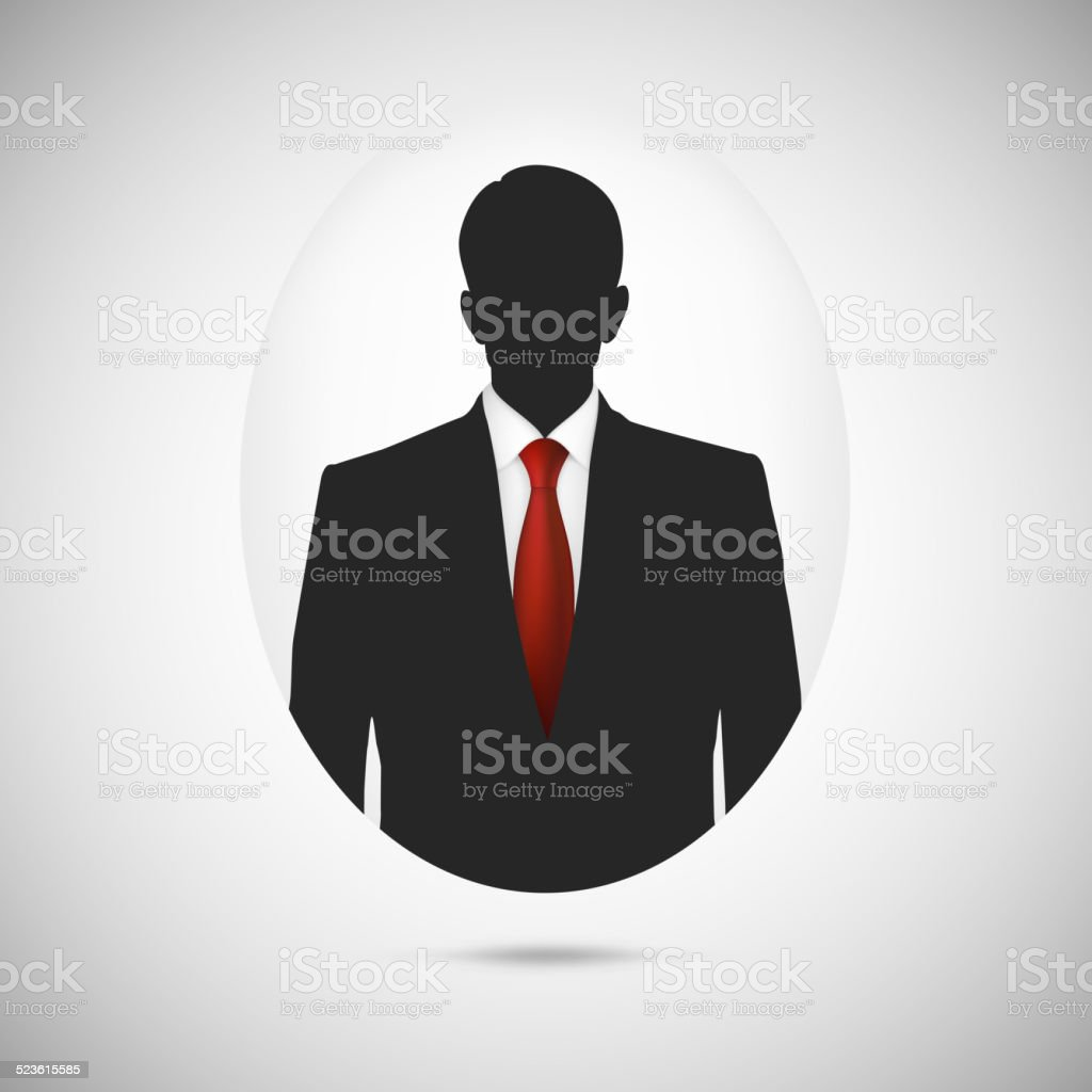 Male person silhouette. Profile picture whith red tie. vector art illustration