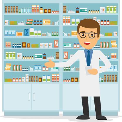 Clip Art Pharmacist Clipart clip art vector images illustrations istock male pharmacist on medicine background illustration
