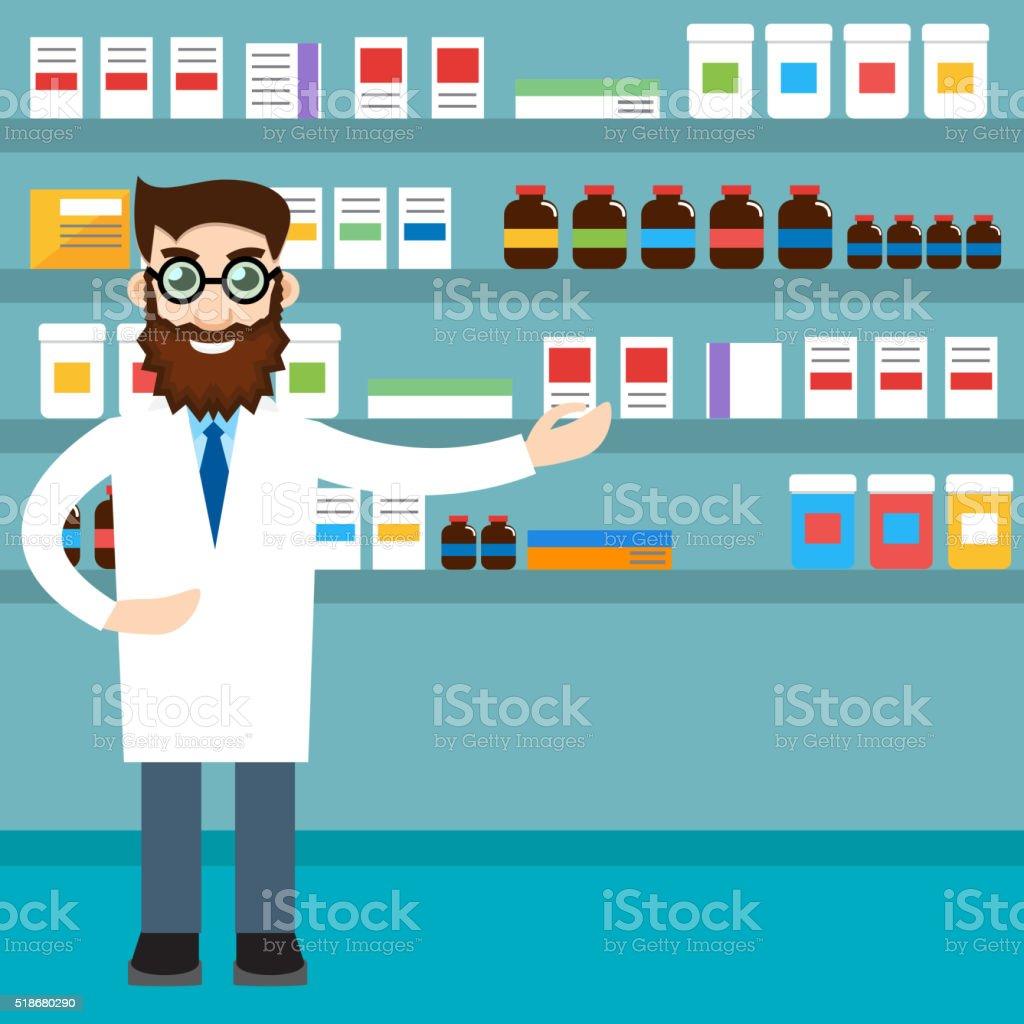 male pharmacist vector art illustration
