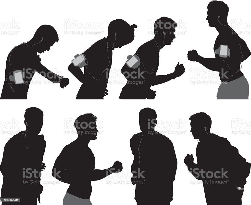 Male runner running vector art illustration