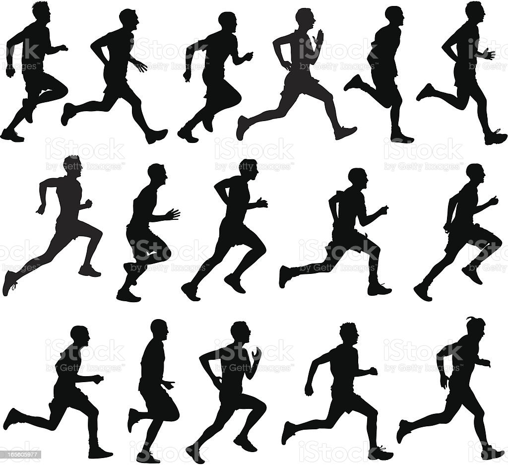 Male runners in silhouette profiles vector art illustration