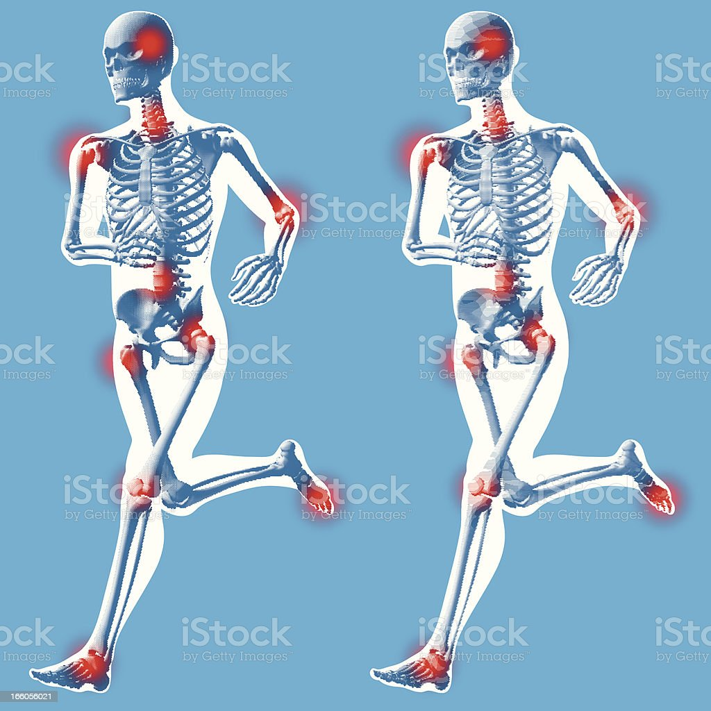 Male running - 3 quarter front view vector art illustration