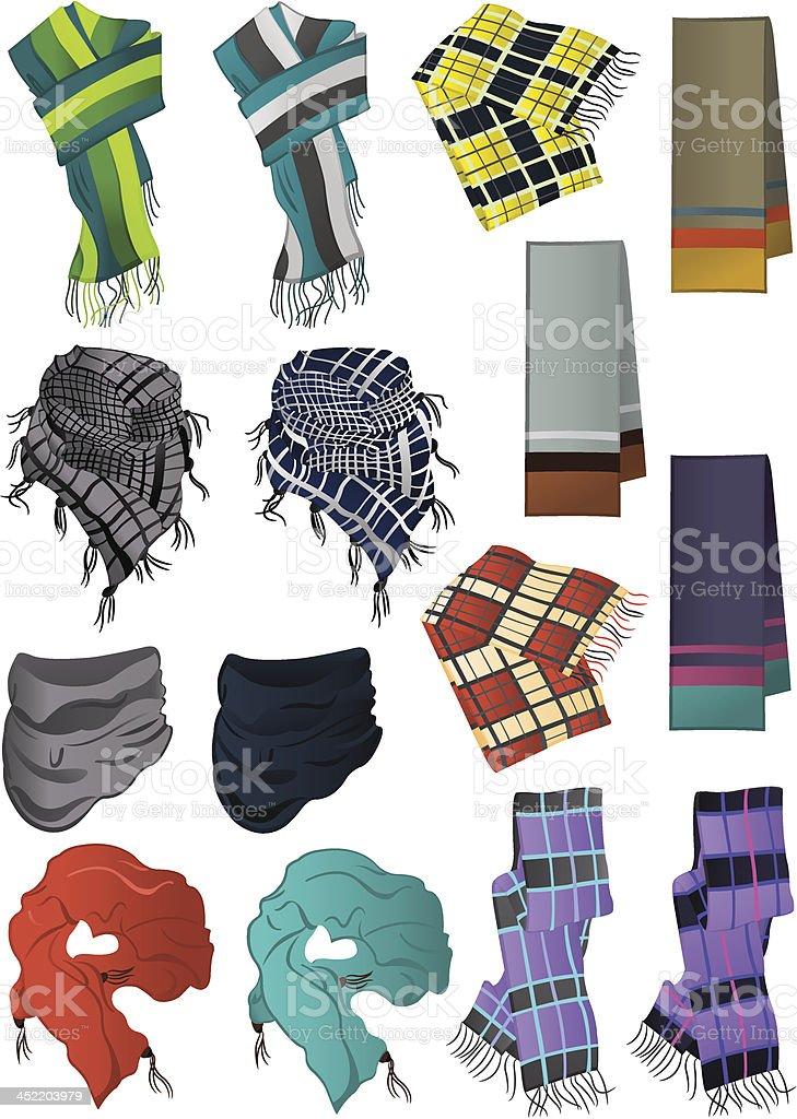 Male scarves vector art illustration