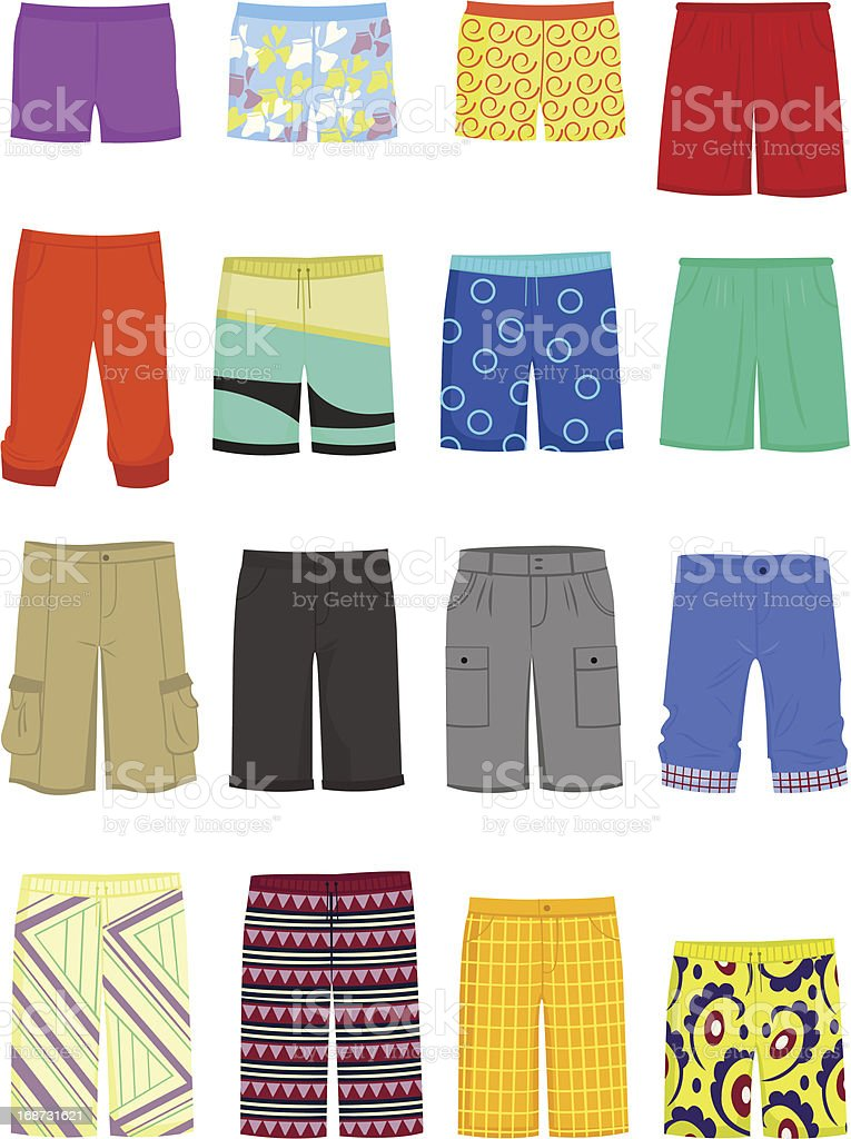 Male shorts vector art illustration