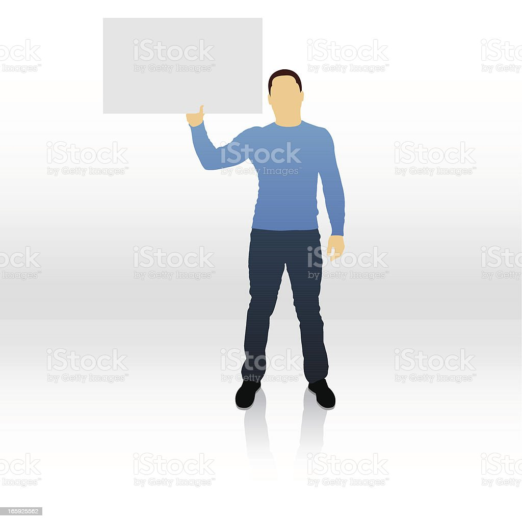 Male silhouette holding blank sign royalty-free stock vector art