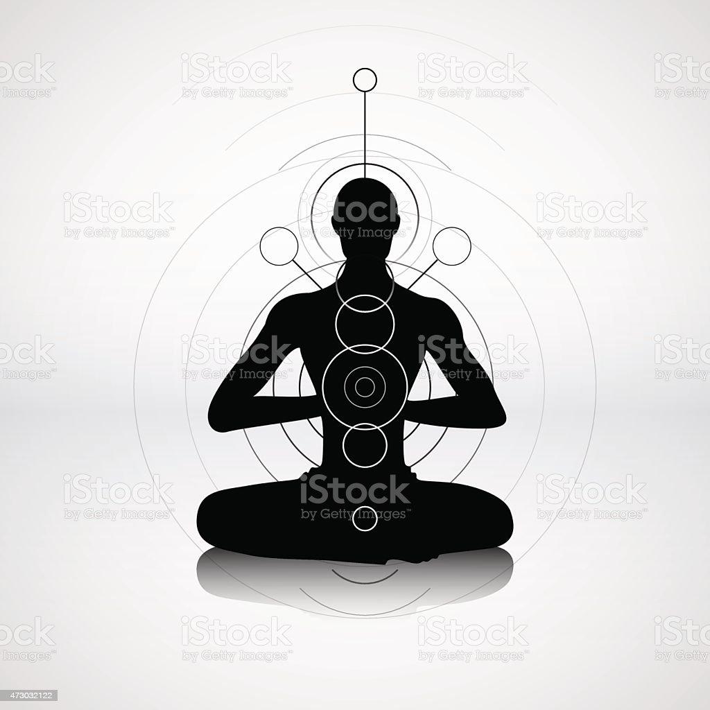 Male silhouette in yoga pose vector art illustration