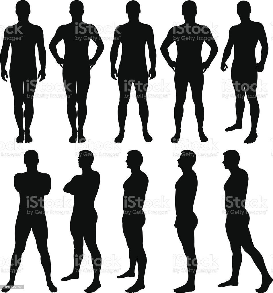 Male silhouettes posing vector art illustration